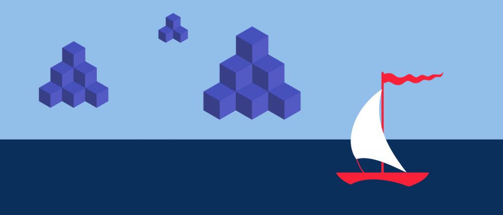 Illustration of blockchain blocks flying over ocean above a sailboat,