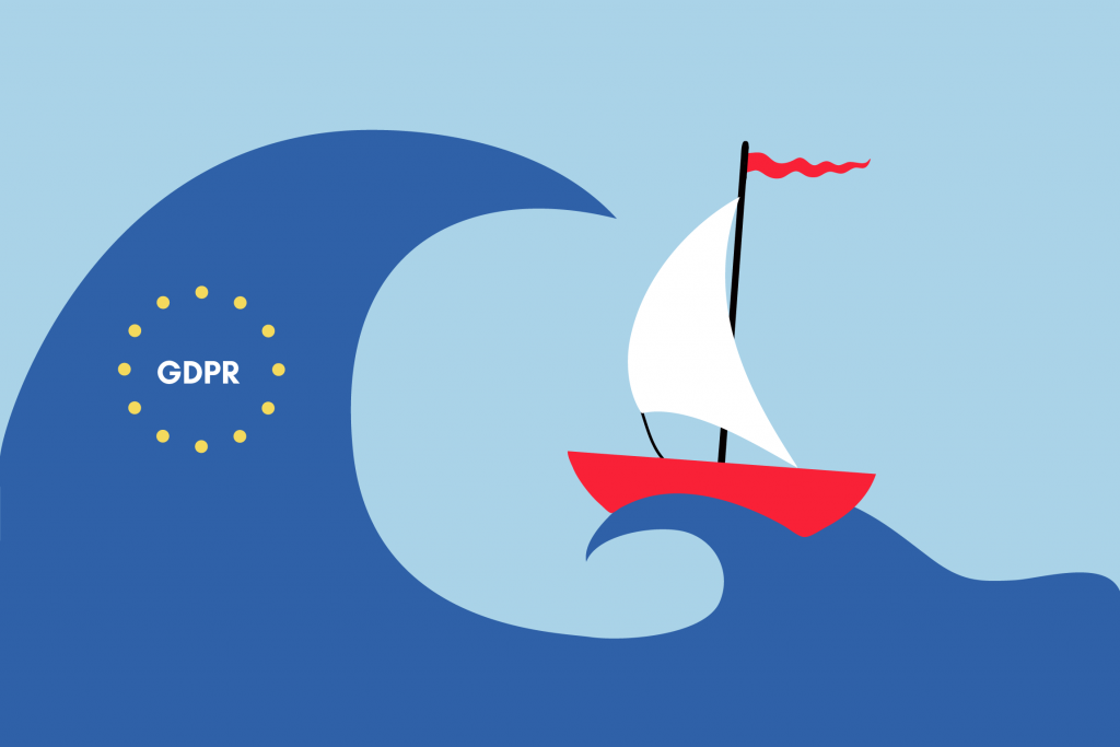 Illustration of large wave representing GDPR about to overtake a small ship representing a blockchain entrepreneur, created by Jesse van Mouwerik for TechGDPR
