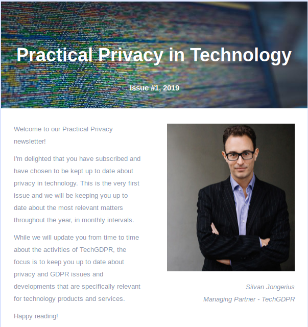 TechGDPR Practical Privacy in Technology newsletter
